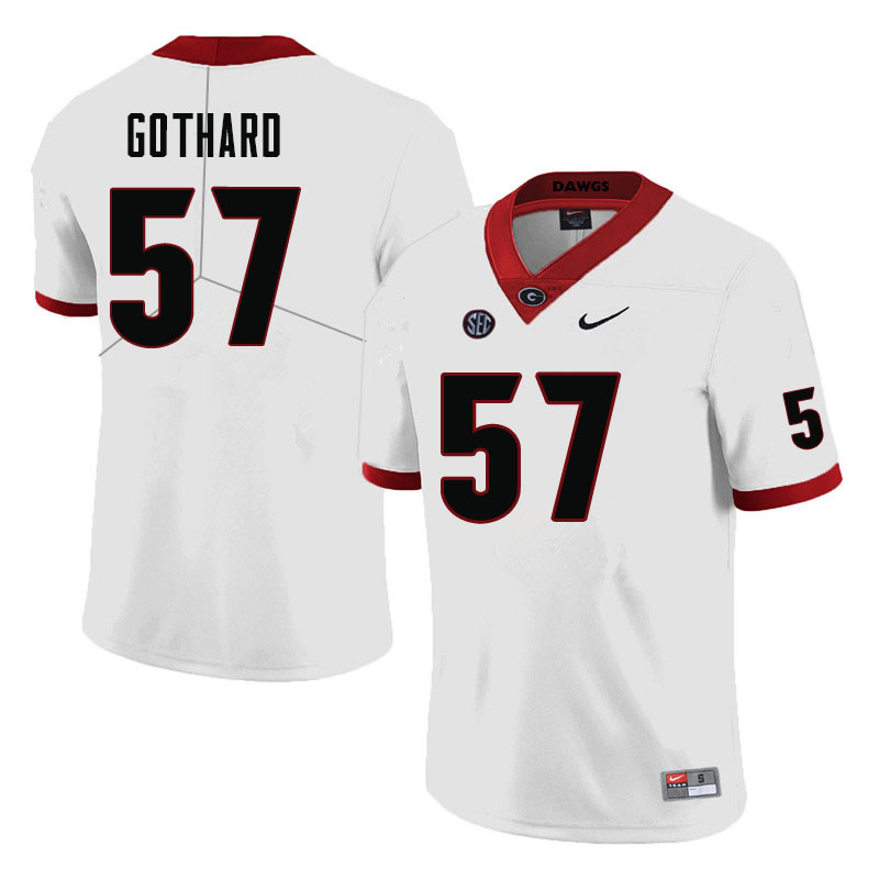 Men #57 Daniel Gothard Georgia Bulldogs College Football Jerseys-White