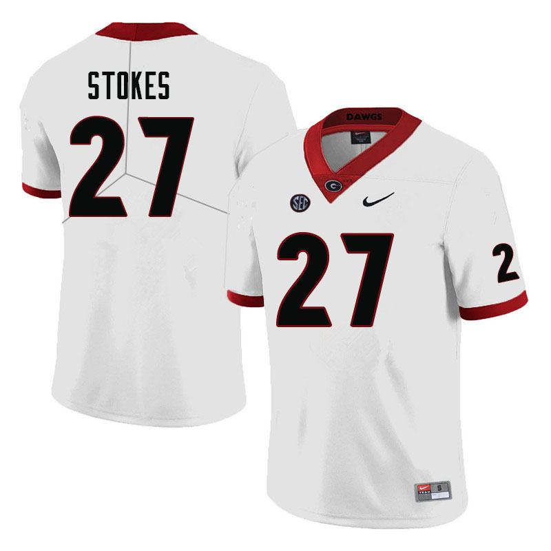 Men #27 Eric Stokes Georgia Bulldogs College Football Jerseys-White