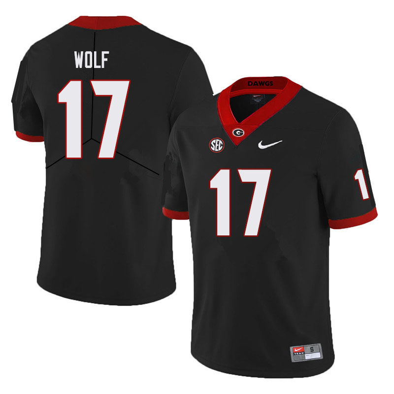 Men #17 Eli Wolf Georgia Bulldogs College Football Jerseys Sale-Black