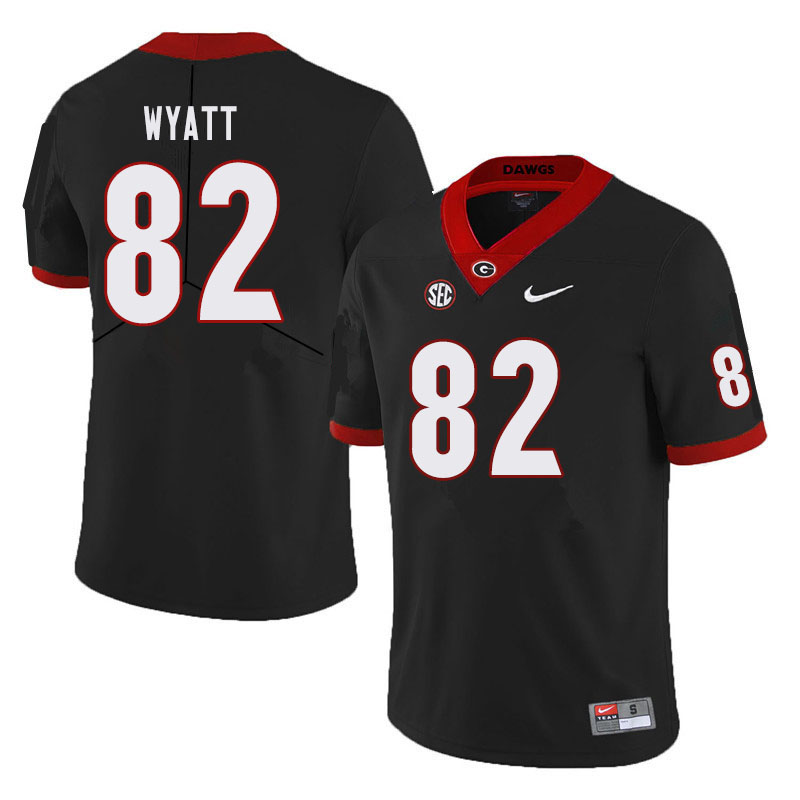 Men #82 Kolby Wyatt Georgia Bulldogs College Football Jerseys Sale-Black