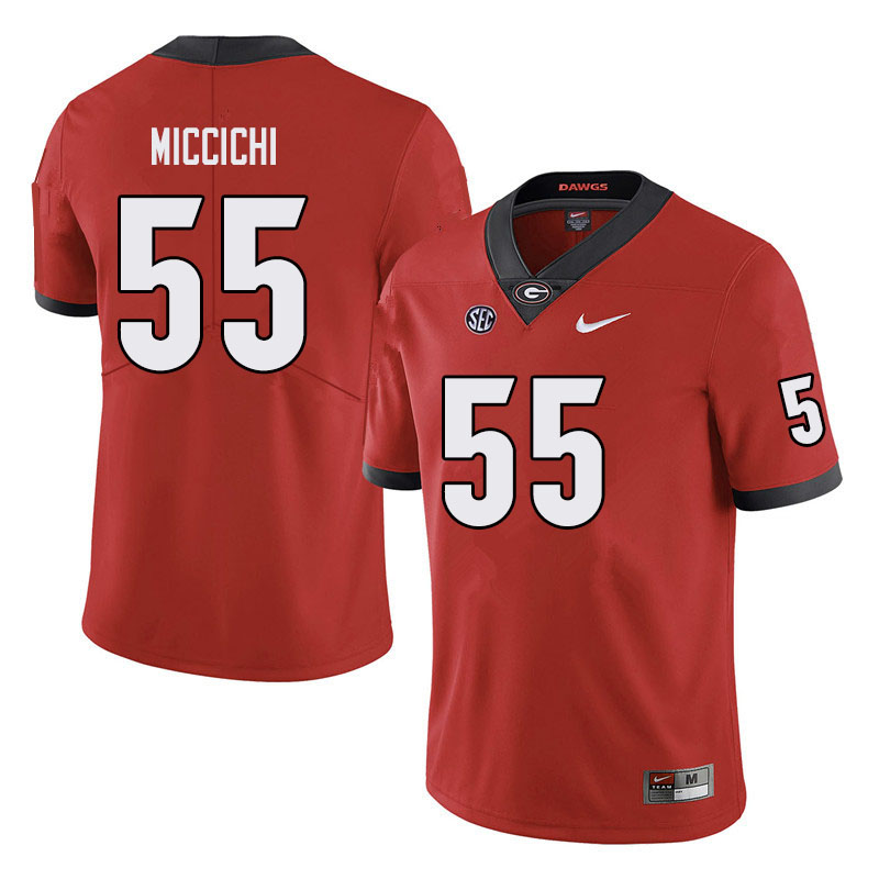 Men #55 Miles Miccichi Georgia Bulldogs College Football Jerseys Sale-Black
