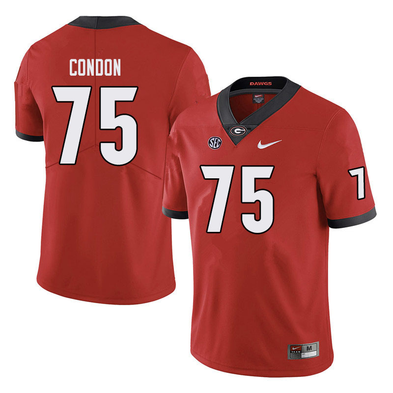 Men #75 Owen Condon Georgia Bulldogs College Football Jerseys Sale-Black