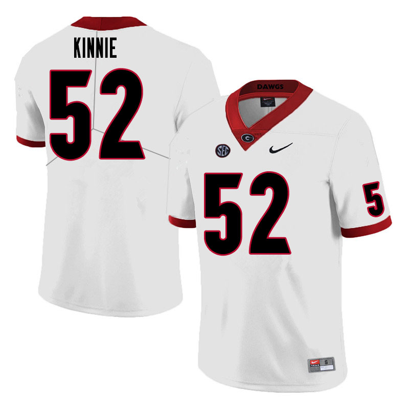 Men #52 Cameron Kinnie Georgia Bulldogs College Football Jerseys Sale-White