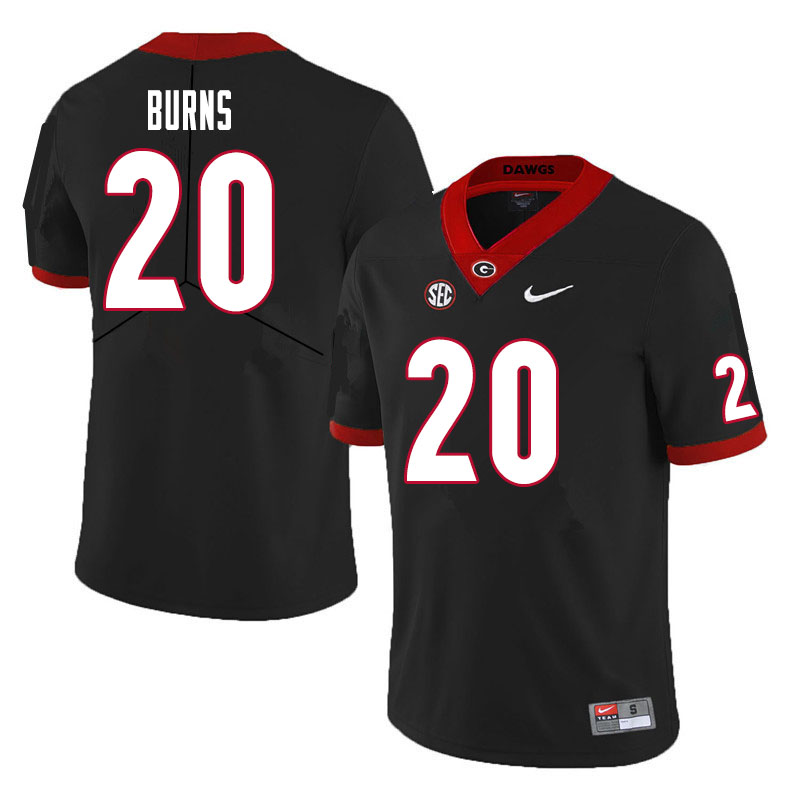 Men #20 Major Burns Georgia Bulldogs College Football Jerseys Sale-Black