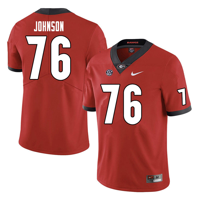 Men #76 Miles Johnson Georgia Bulldogs College Football Jerseys Sale-Red