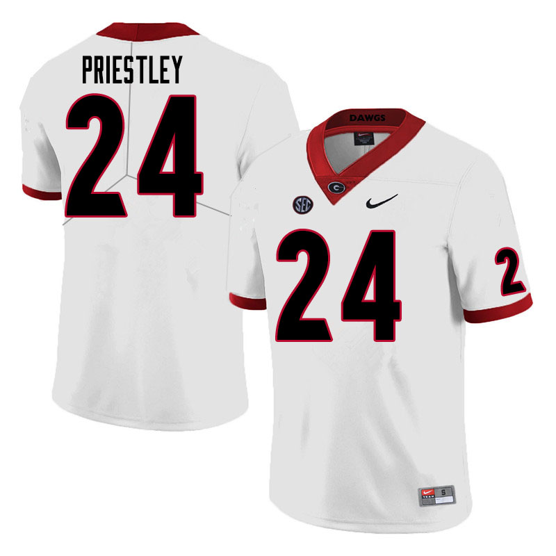 Men #24 Nathan Priestley Georgia Bulldogs College Football Jerseys Sale-White