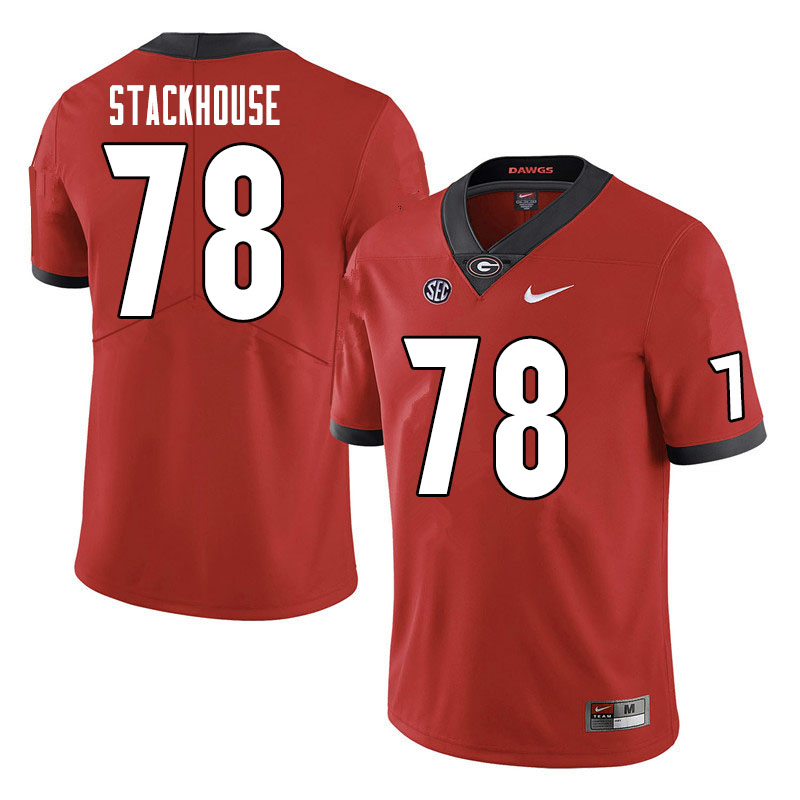 Men #78 Nazir Stackhouse Georgia Bulldogs College Football Jerseys Sale-Red