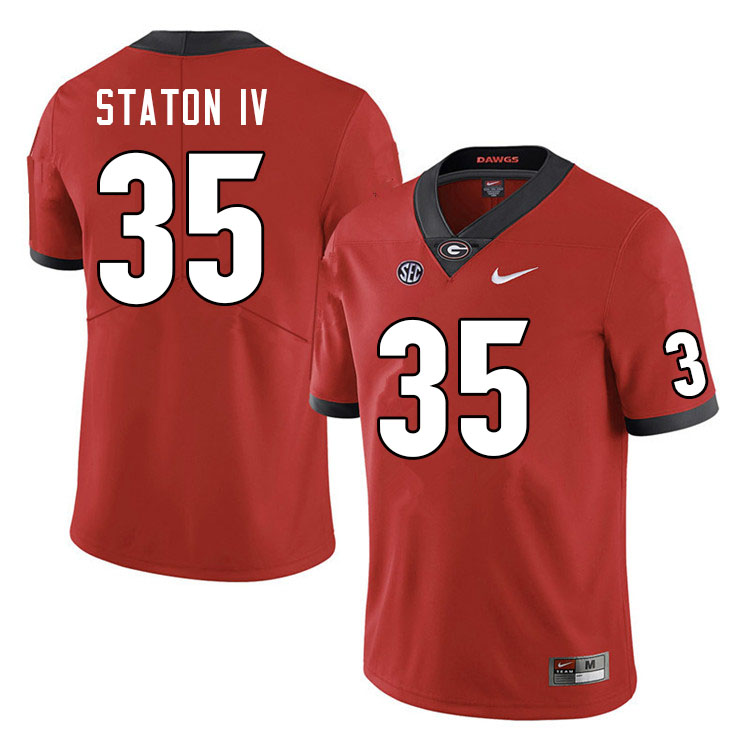 Men #35 John Staton IV Georgia Bulldogs College Football Jerseys Sale-Red