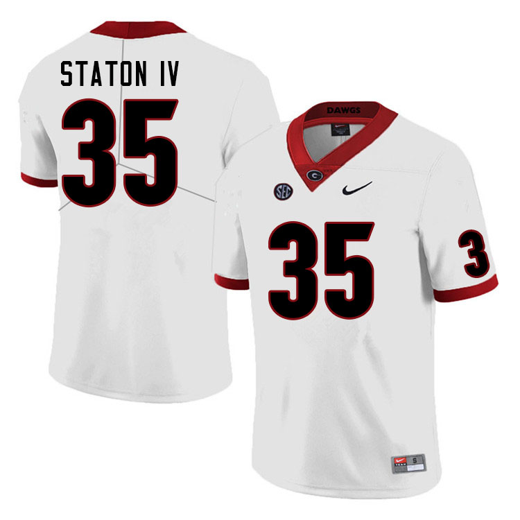 Men #35 John Staton IV Georgia Bulldogs College Football Jerseys Sale-White