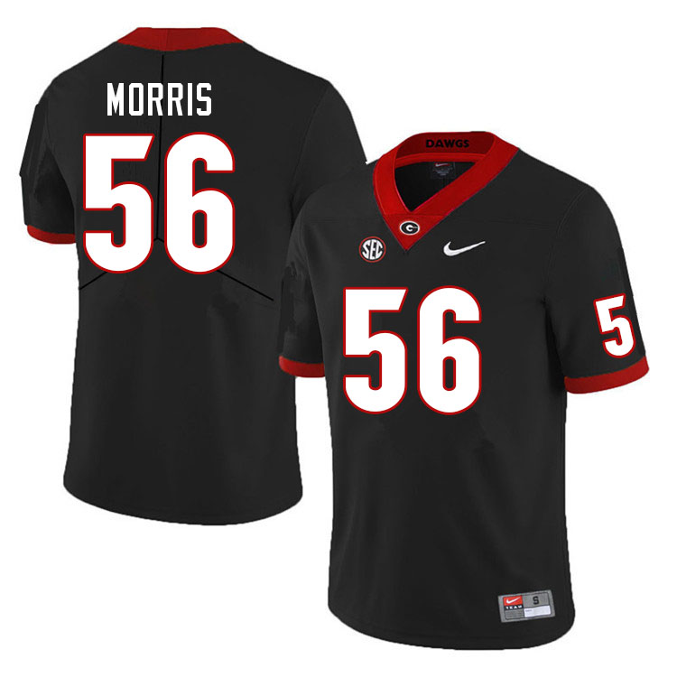 Men #56 Micah Morris Georgia Bulldogs College Football Jerseys Sale-Black