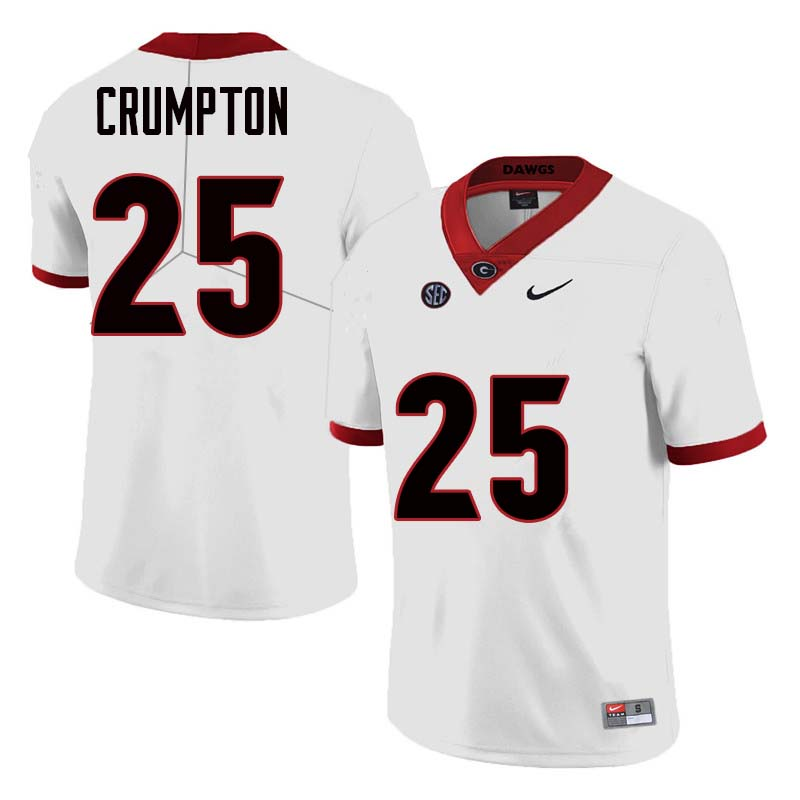 Men Georgia Bulldogs #25 Ahkil Crumpton College Football Jerseys Sale-White