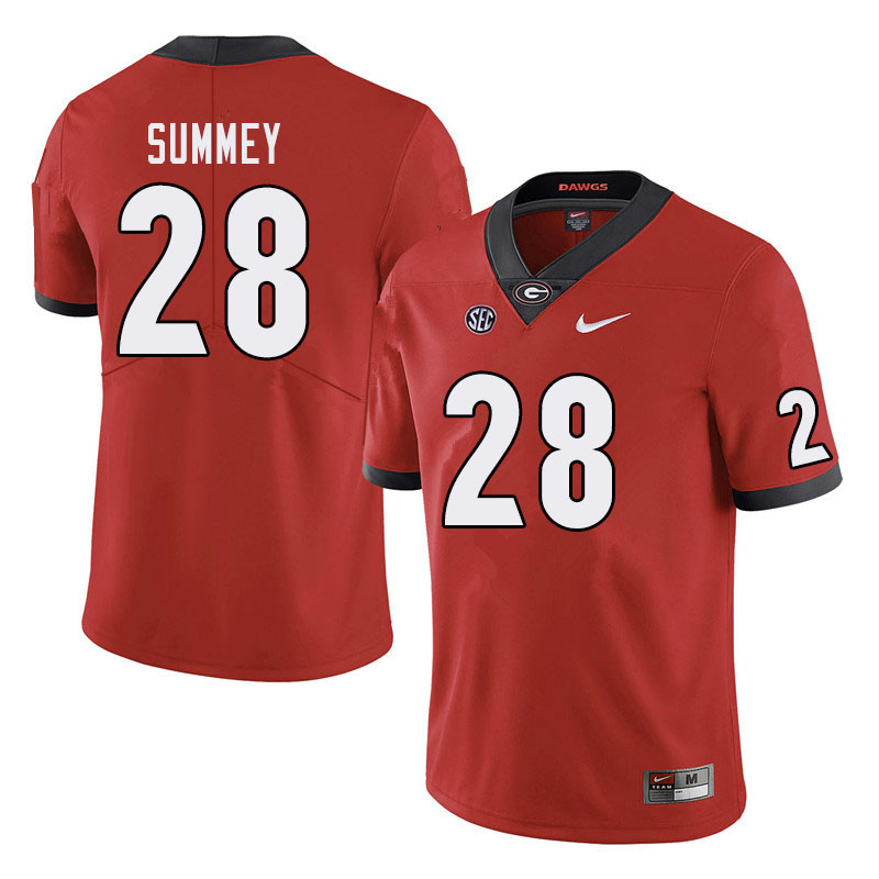 Men #28 Anthony Summey Georgia Bulldogs College Football Jerseys Sale-Red