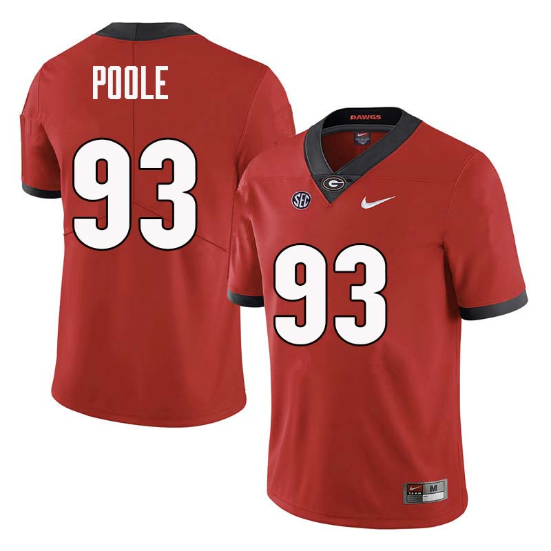 Men Georgia Bulldogs #93 Antonio Poole College Football Jerseys Sale-Red