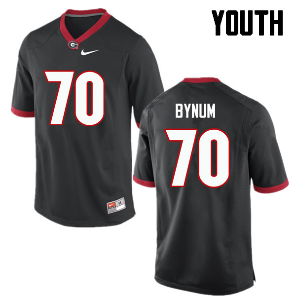 Youth Georgia Bulldogs #70 Aulden Bynum College Football Jerseys-Black