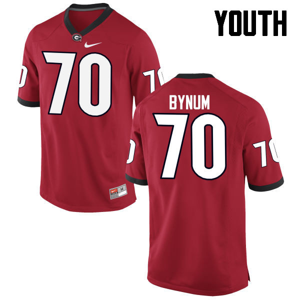 Youth Georgia Bulldogs #70 Aulden Bynum College Football Jerseys-Red