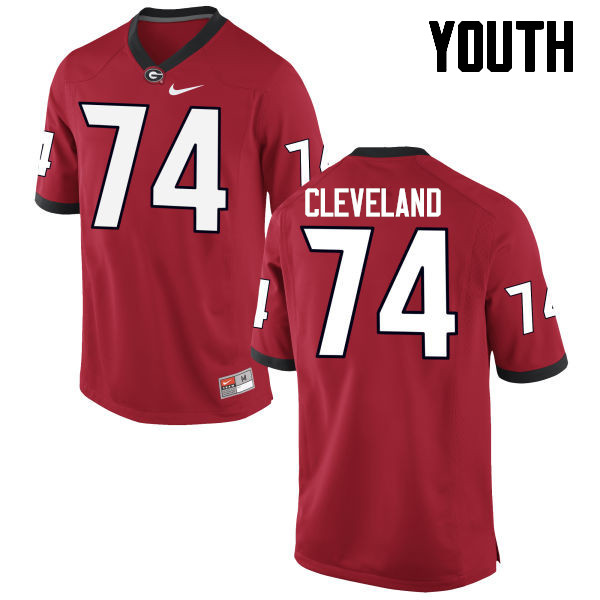 Youth Georgia Bulldogs #74 Ben Cleveland College Football Jerseys-Red