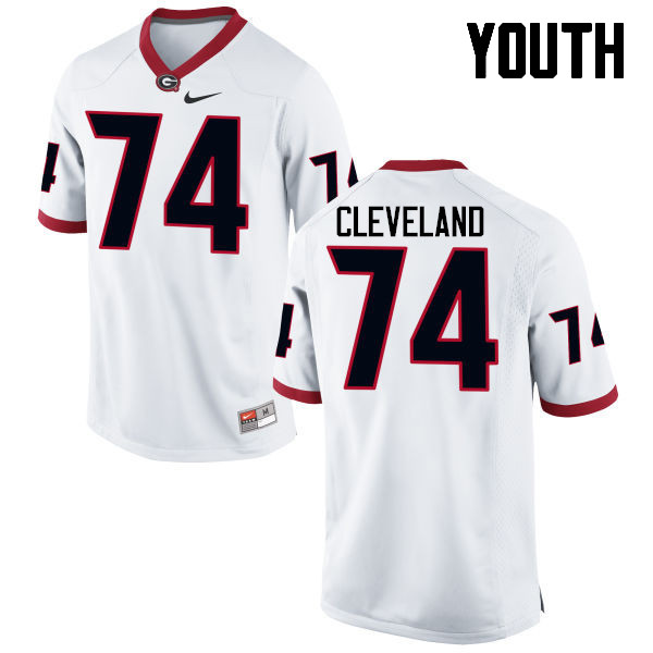 Youth Georgia Bulldogs #74 Ben Cleveland College Football Jerseys-White