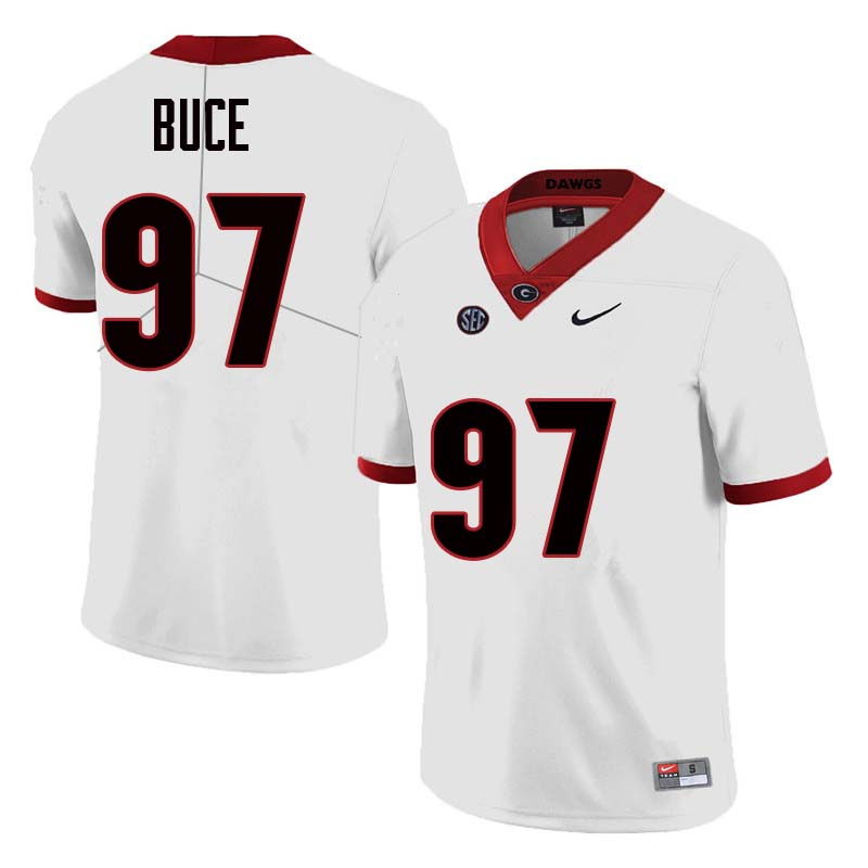 Men Georgia Bulldogs #97 Brooks Buce College Football Jerseys Sale-White