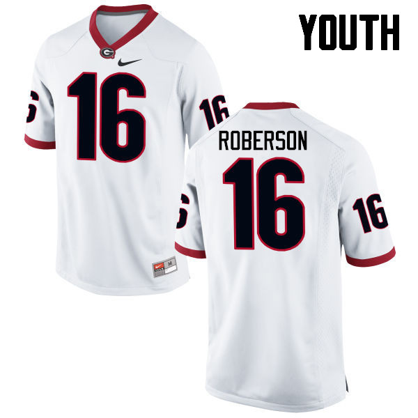 Youth Georgia Bulldogs #16 Caleeb Roberson College Football Jerseys-White
