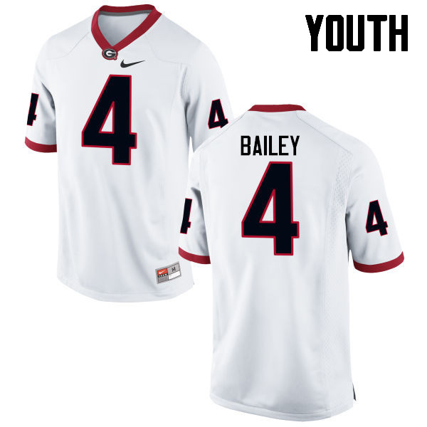 Youth Georgia Bulldogs #4 Champ Bailey College Football Jerseys-White