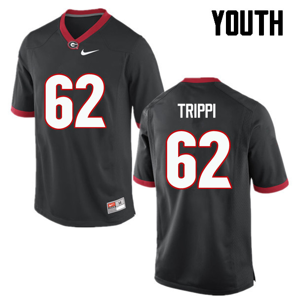 Youth Georgia Bulldogs #62 Charley Trippi College Football Jerseys-Black