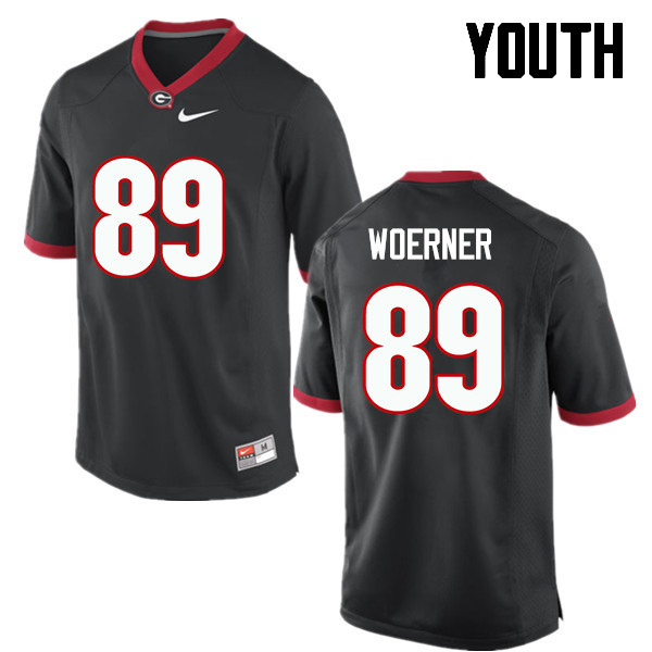Youth Georgia Bulldogs #89 Charlie Woerner College Football Jerseys-Black