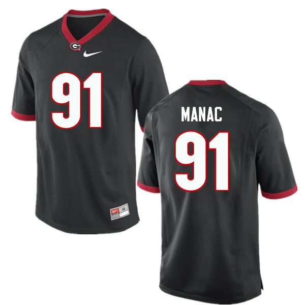 Men Georgia Bulldogs #91 Chauncey Manac College Football Jerseys-Black