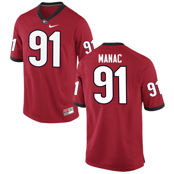 Men Georgia Bulldogs #91 Chauncey Manac College Football Jerseys-Red