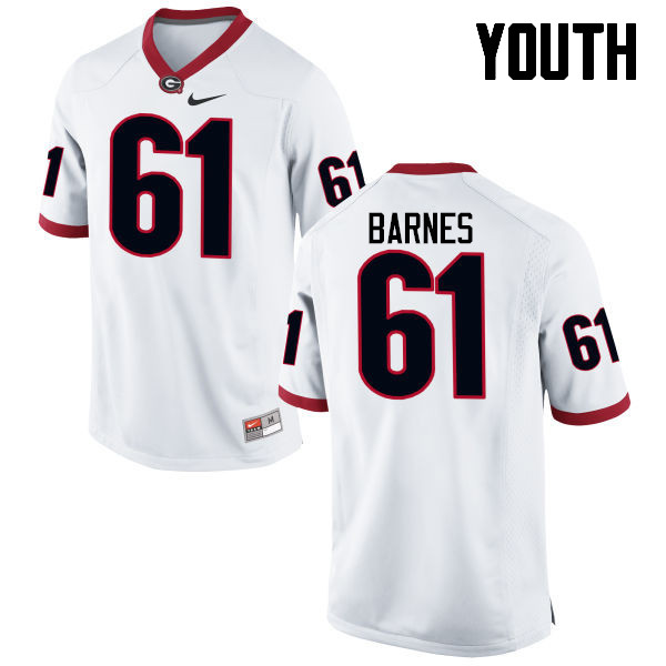 Youth Georgia Bulldogs #61 Chris Barnes College Football Jerseys-White