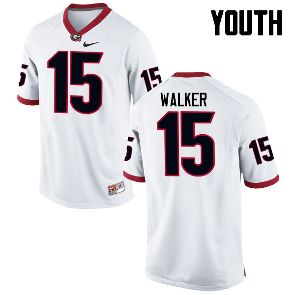 Youth Georgia Bulldogs #15 DAndre Walker College Football Jerseys-White