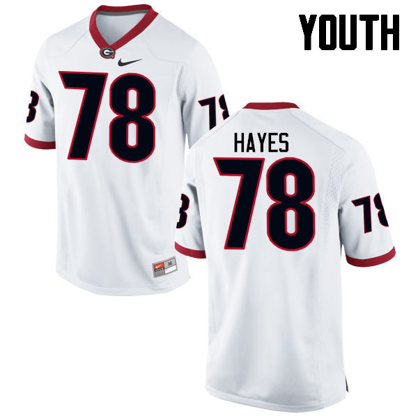Youth Georgia Bulldogs #78 DMarcus Hayes College Football Jerseys-White