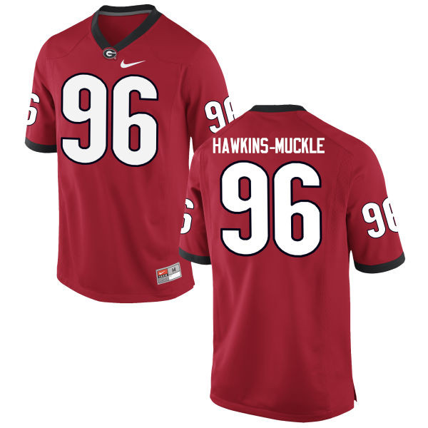 Men Georgia Bulldogs #96 DaQuan Hawkins-Muckle College Football Jerseys-Red