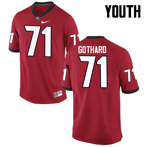 Youth Georgia Bulldogs #71 Daniel Gothard College Football Jerseys-Red