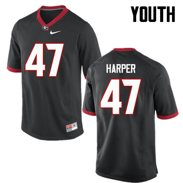 Youth Georgia Bulldogs #47 Daniel Harper College Football Jerseys-Black
