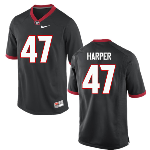 Men Georgia Bulldogs #47 Daniel Harper College Football Jerseys-Black