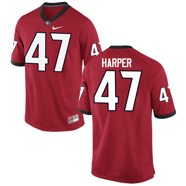 Men Georgia Bulldogs #47 Daniel Harper College Football Jerseys-Red