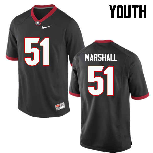 Youth Georgia Bulldogs #51 David Marshall College Football Jerseys-Black