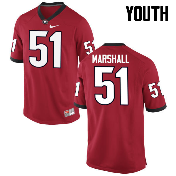Youth Georgia Bulldogs #51 David Marshall College Football Jerseys-Red