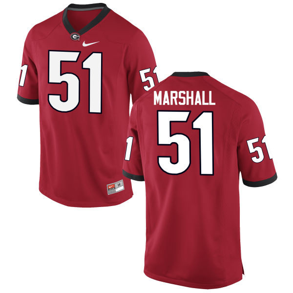 Men Georgia Bulldogs #51 David Marshall College Football Jerseys-Red