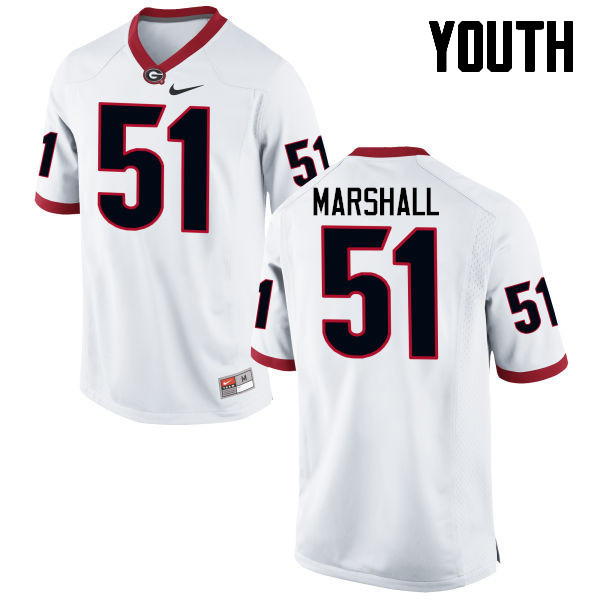 Youth Georgia Bulldogs #51 David Marshall College Football Jerseys-White
