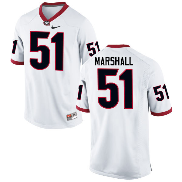 Men Georgia Bulldogs #51 David Marshall College Football Jerseys-White