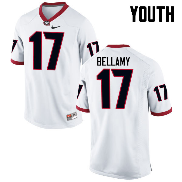 Youth Georgia Bulldogs #17 Davin Bellamy College Football Jerseys-White
