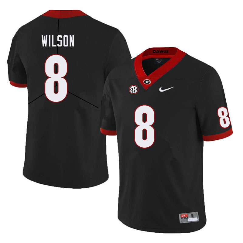 Men #8 Divaad Wilson Georgia Bulldogs College Football Jerseys Sale-Black