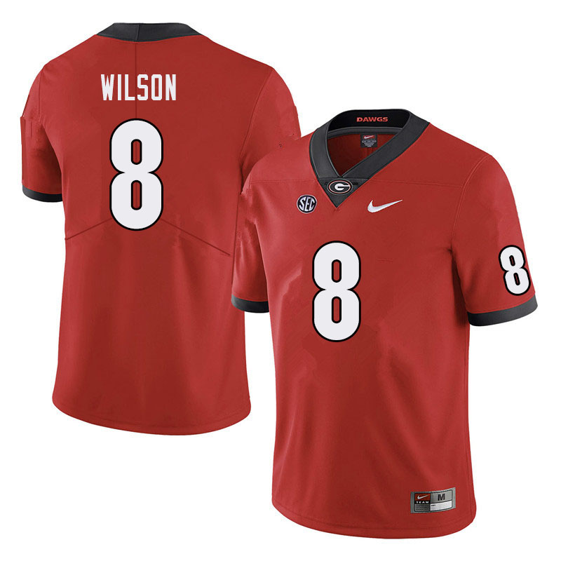Men #8 Divaad Wilson Georgia Bulldogs College Football Jerseys Sale-Red