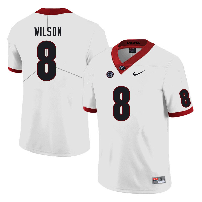 Men #8 Divaad Wilson Georgia Bulldogs College Football Jerseys Sale-White