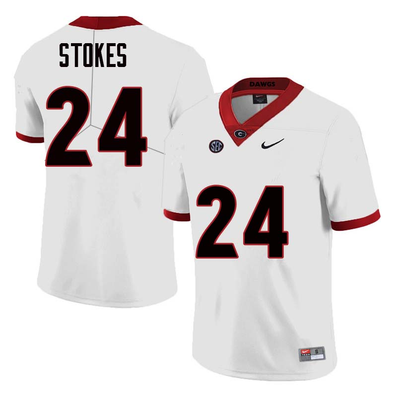 Men Georgia Bulldogs #24 Eric Stokes College Football Jerseys Sale-White