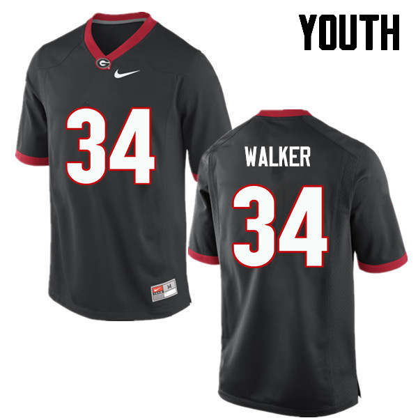 Youth Georgia Bulldogs #34 Herschel Walker College Football Jerseys-Black