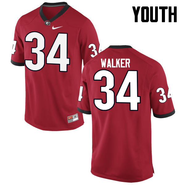 Youth Georgia Bulldogs #34 Herschel Walker College Football Jerseys-Red