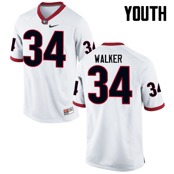 Youth Georgia Bulldogs #34 Herschel Walker College Football Jerseys-White