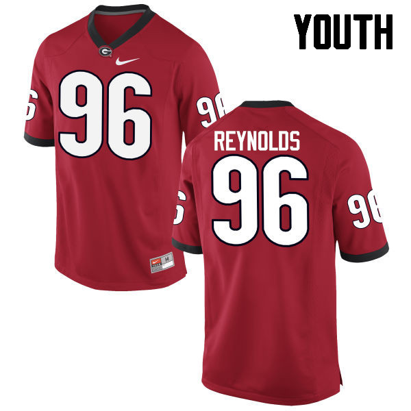 Youth Georgia Bulldogs #96 Hudson Reynolds College Football Jerseys-Red